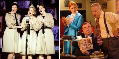 "At left, the Andrews sisters, from left, LaVerne (played by Lynsey Buckelew), Patty (Julia Burrows) and Maxene (Jackie Washam) sing during Infinity Theatre's ""Sisters of Swing."" At right, Miss Poppenghul (played by Kaelynn Miller), David Selznick (Michael Forgetta) and Ben Hecht (Jim Reiter) are featured in a scene in Colonial Players' ""Moonlight and Magnolias."""