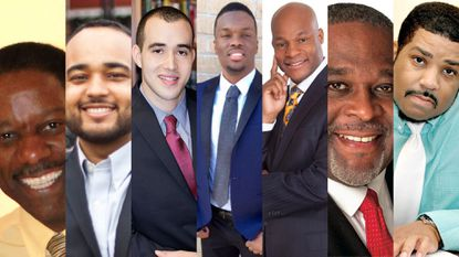 "Seven Democrats are running for the District 8 seat on Baltimore's City Council. From left to right, they are: Benjamin Barnwell, Kristerfer Burnett, Reginald ""Reggie"" Fugett, Rodney ""Faraj"" Leach, Russell Neverdon, David Maurice Smallwood and Dwayne ""Diamond K"" Williams. Two Republicans, Joseph Brown Jr. and Nakia Washington, did not submit photographs."