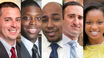 Five Democrats are running for the District 11 seat in Baltimore's City Council. From left to right, they are: Eric Costello, Curtis Johnson, Harry Preston V, Greg Sileo and Dea Thomas.