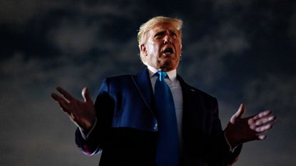 President Donald Trump speaks at a campaign rally in Latrobe, Pennsylvania on September 3.
