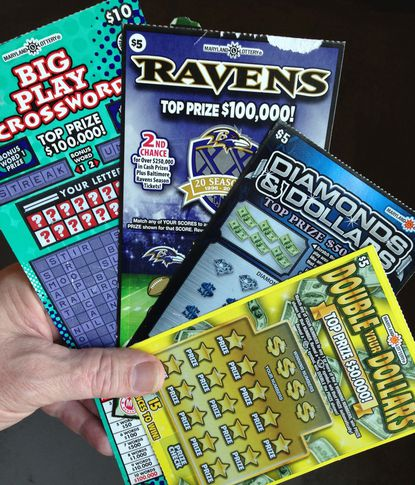 """Depicted are scratch-off tickets for three games that have been on the market for months and for which few top prizes remain. The state lottery says it needs to do a better job closing out """"stale inventory."""" For contrast, """"Double Your Dollars"""" is a new game for which all the top prizes remain in circulation. (Left to Right) """"Big Play Crossword,"""" one of six $100,000 prizes remaining; """"Ravens"""" game, one of five $100,000 prizes remaining; """"Diamonds & Dollars,"""" one of six $50,000 prizes remaining; """"Double Your Dollars,"""" six of six $50,000 prizes remaining."""