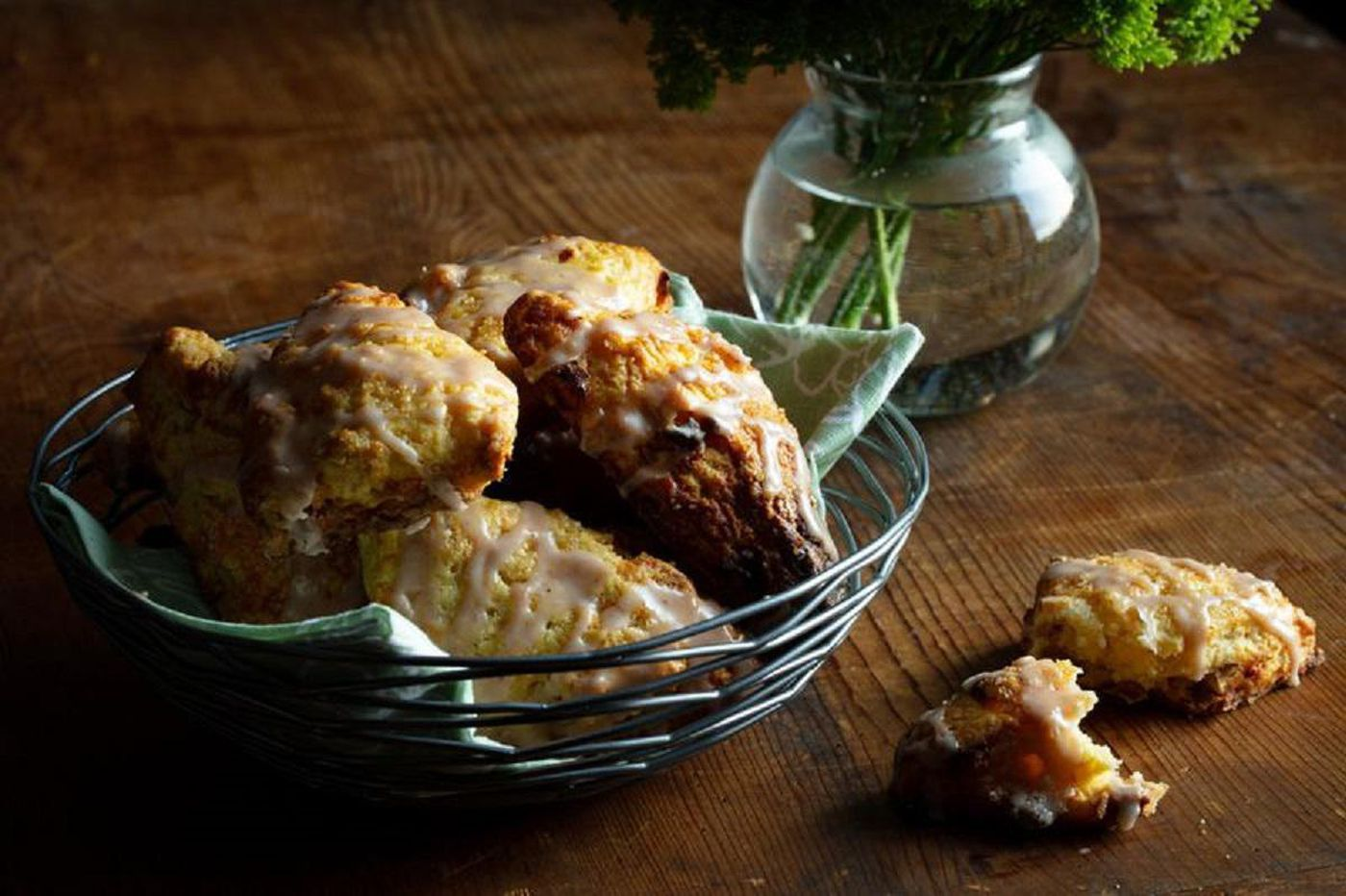 """Apple cheddar scones with hard cider and whiskey glaze 