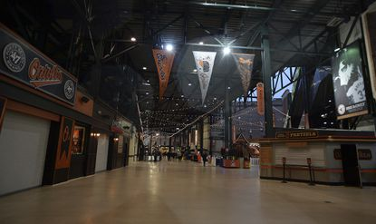 The concession area of Oriole Park at Camden Yards is viewed after the cancellation of a game in 2018. (AP Photo/Gail Burton)