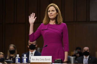 Supreme Court nominee Amy Coney Barrett is sworn in during a confirmation hearing before the Senate Judiciary Committee, Monday, Oct. 12 on Capitol Hill in Washington.
