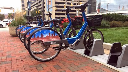 BALTIMORE -- Baltimore Bike Share bikes at the station located at Light and Conway streets at the Inner Harbor. These are among the bikes returned after a month-long shutdown sparked by widespread thefts and maintenance backups