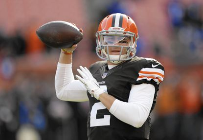 Cleveland Browns quarterback Johnny Manziel warms up before an NFL football game against the Indianapolis Colts Sunday, Dec. 7, 2014, in Cleveland. (AP Photo/Tony Dejak) ** Usable by LA, DC, CGT and CCT Only **