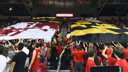 Maryland students protest inside, outside Xfinity Center during Virginia game