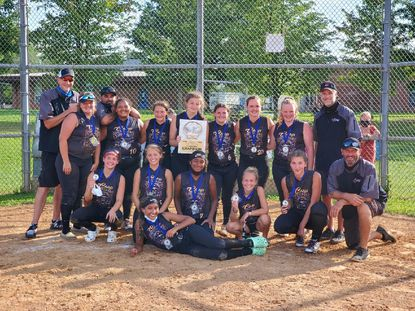 The Havre de Grace Chiefs 16U champs are, standing, from left, Coach Chuck Burr, Nat Rebman, Coach Roger Dalton, Lilly Dalton, Kinsey Mentzer, Alysa Kaptain, Emma Bowman, Laura Hughes, Autum Keyes, Coach Fred Hughes. Squatting, from left, Madison Johnson, Lanie Mentzer, Mischa Spencer, Natalie Bucci, Katie Burr, Manager Chris Mentzer. Front, Taty Sanchez. Not pictured, Bri Walls.