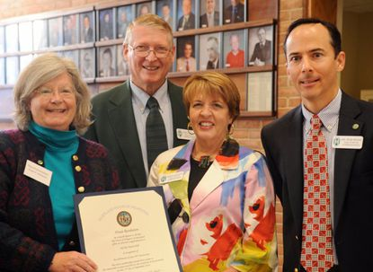 Bel Air area Del. Susan McComas, left, presents a House of Delegates proclamation to Bel Air town officials last month marking the 50th anniversary of Town Hall. The former Bel Air mayor is campaigning for a fourth House term, opposed by Harford School Board member Cassandra Beverley.