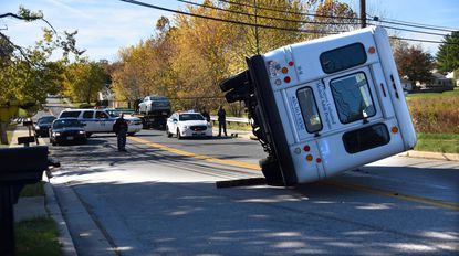 A bus overturned in Randallstown Tuesday, sending seven people to area hospitals with injuries.