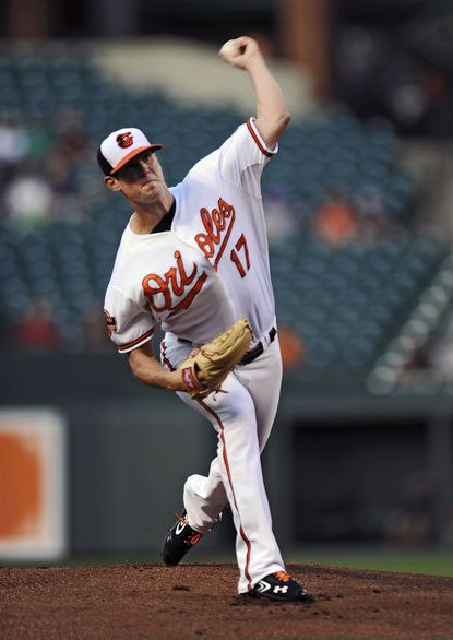 Orioles starter Brian Matusz delivers against the Red Sox. The lefty pitched 6 1/3 innings, allowing just one run on two hits and a walk while tying a career high with nine strikeouts in the Orioles' 4-1 win.