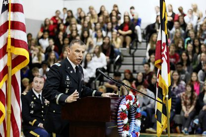 Col. Edward C. Rothstein, garrison commander at Fort Meade, addresses students at Century High School in Sykesville. Rothstein is concerned about the use of synthetic marijuana among service members.