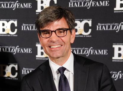 This Oct. 20, 2014 file photo shows George Stephanopoulos at the 24th Annual Broadcasting and Cable Hall of Fame Awards in New York. Stephanopoulos apologized Thursday for not notifying his employer and viewers about three contributions totaling $75,000 that he made to the Clinton Foundation.