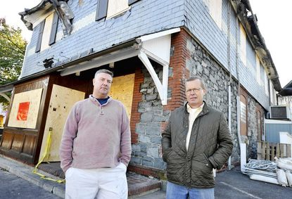 """Dave Lichty and Rob Frisch, owners of <a href=""""http://findlocal.baltimoresun.com/listings/mt-washington-tavern-baltimore"""">Mt. Washington Tavern</a>, are planning to rebuild the restaurant after a fire devastated the building."""