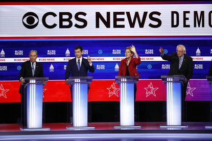 From left, Democratic presidential candidates, former New York City Mayor Mike Bloomberg, former South Bend Mayor Pete Buttigieg, Sen. Elizabeth Warren, D-Mass., and Sen. Bernie Sanders, I-Vt., participate in a Democratic presidential primary debate at the Gaillard Center, Tuesday in Charleston, S.C., co-hosted by CBS News and the Congressional Black Caucus Institute. (AP Photo/Patrick Semansky)