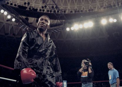 Pernell Whitaker stands in the ring before his fight with Buddy McGirt on October 1994.