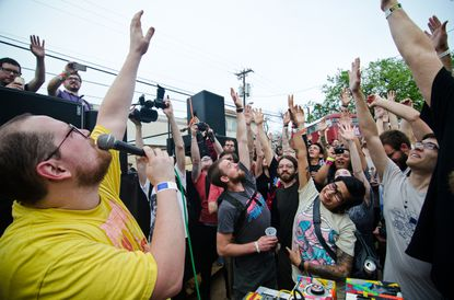 Dan Deacon gets the crowd involved at the South by Southwest Music Festival in Texas earlier this year.