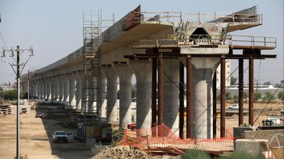 Construction of California's high-speed rail project in Fresno, Calif. at Shown S. Cedar Avenue. and SR-99.