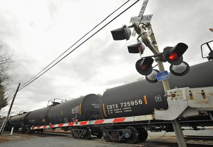 A bill that would have required a study of crude oil rail shipments in Maryland, such as the one above in Cecil County, has stalled.
