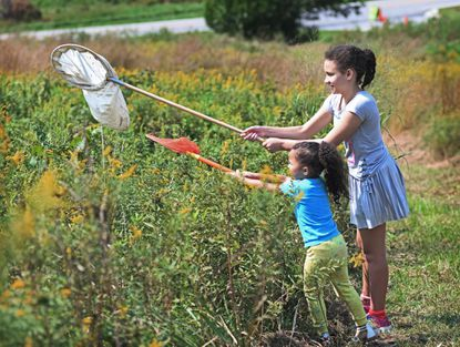 Braelynn Wilmot, 4, and her aunt Allison Champion, 11, right, both of Westminster, try to net a butterfly during the 2021 Monarch Madness Festival at Bear Branch Nature Center.