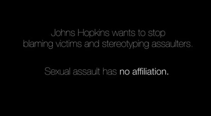 """A screenshot from """"Johns Hopkins--Not Asking For It,"""" an anti-victim blaming video uploaded to YouTube on Nov. 12."""