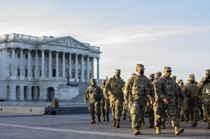 National Guard troops at the Capitol in Washington on Thursday, Jan. 14, a day after his supporters stormed the building.