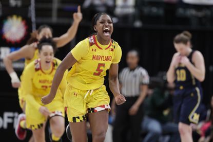 Maryland guard Kaila Charles celebrates after Maryland defeated Michigan in a Big Ten tournament semifinal in Indianapolis.