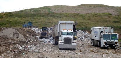 The vast majority of trash is hauled to the Waste Management (WM) transfer facility in Jessup, loaded into rail cars, transported to King George, Virginia, and buried in a WM landfill.