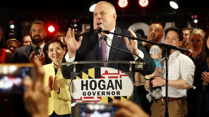 Maryland Gov. Larry Hogan delivers remarks at an election night party Tuesday night in Annapolis. Hogan earned a second term after defeating Democratic opponent Ben Jealous.