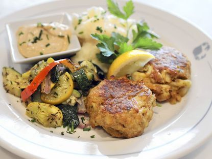 The four-ounce crab cake platter at Phillips Restaurant, which recently opened at the Power Plant.