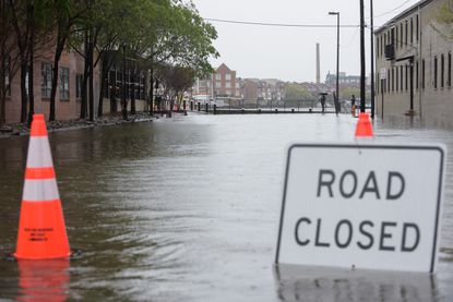 A road near the Thames Point Apartments was temporarily shut down last month due to flooding from heavy rains earlier in the day. April 30, 2020