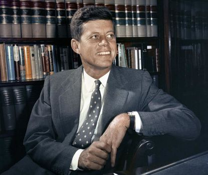 In this Feb. 27, 1959 file photo, Sen. John F. Kennedy, D-Mass., is shown in his office in Washington. Monday, May 29, 2017 marks the 100-year anniversary of the birth of Kennedy, who went on to become the 35th President of the United States. (AP Photo, File)