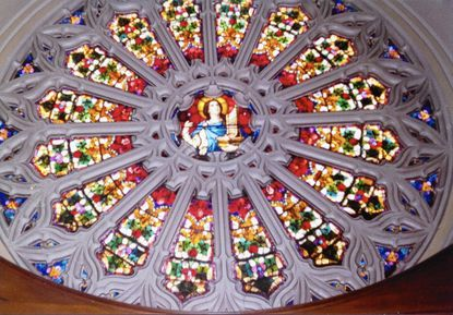The rose window at the Our Lady of Lordes Catholic Church.