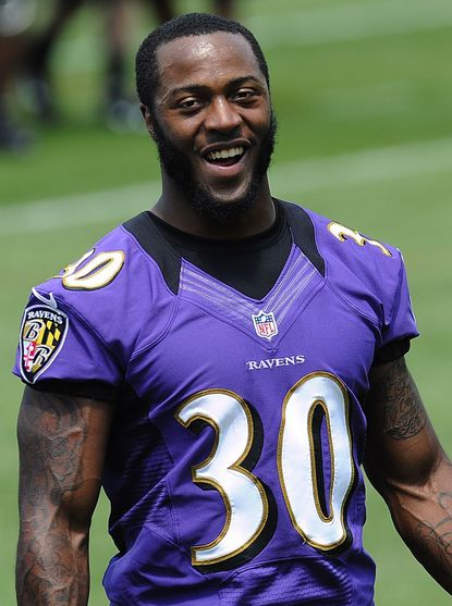 Running back Bernard Pierce is shown during rookie camp at the Ravens training facility in Owings Mills May 13.
