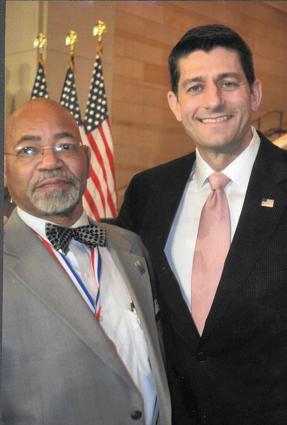 Phillip Hunter, left, stands with House of Representatives Speaker Paul Ryan last month when Hunter and others were honored with the Congressional Gold Medal for their roles in the marches for freedom in the South that culminated in passage of the 1965 Voting Rights Act.