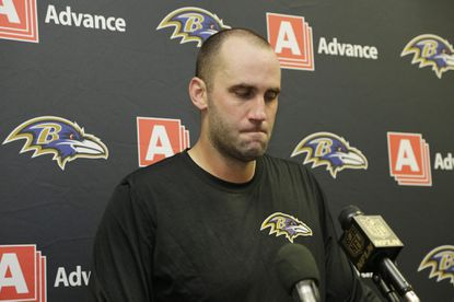 Ravens quarterback Matt Schaub (8) speaks during the postgame news conference after losing to the Miami Dolphins.