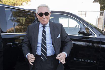 Roger Stone arrives at federal court in Washington on Nov. 6, 2019.