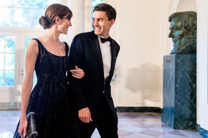 Actress Allison Williams and her husband Ricky Van Veen arrive for a state dinner for Nordic leaders at the White House in Washington, on May 13. Van Veen, who founded CollegeHumor.com, announced Wednesday that he's joining Facebook.