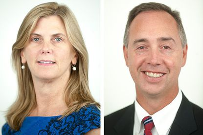 Republican Wes Adams, right, and Democrat Anne Colt Leitess ran in a rematch in the race for Anne Arundel state's attorney.