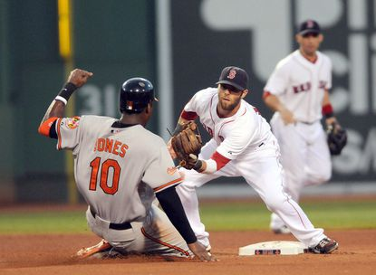Boston second baseman Dustin Pedroia applies the tag as Adam Jones is caught stealing to end the top of the fourth inning Saturday night at Fenway Park. The Orioles lost 4-0 for their sixth straight defeat.
