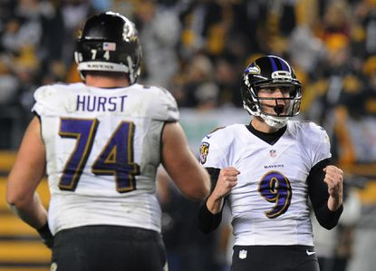 Ravens kicker Justin Tucker (9) celebrates after making a field goal against the Pittsburgh Steelers in the fourth quarter of an NFL wild-card playoff football game, Saturday, Jan. 3, 2015, in Pittsburgh.
