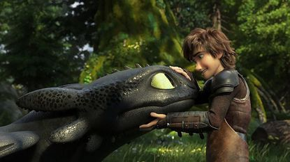 "Hiccup (voiced by Jay Baruchel), right, concludes his saga with his beloved cohort Toothless in ""How to Train Your Dragon: The Hidden World."""