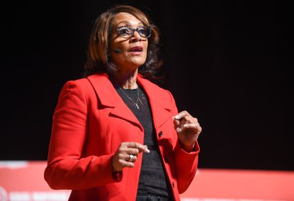 Former Mayor Sheila Dixon answers a question during a Greater Baltimore Urban League forum for mayoral candidates at Morgan State University on Saturday, January 25. Dixon came in first in a Sun poll released Wednesday.