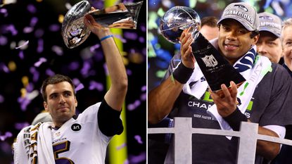 Ravens quarterback Joe Flacco, left, holds up the Lombardi Trophy after winning Super Bowl XLVII in 2013. Seattle Seahawks quarterback Russell Wilson, right, shows off the Lombardi Trophy after winning Super Bowl XLVIII in 2014.