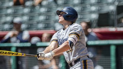 California first baseman Andrew Vaughn bats during an NCAA college baseball game between the University of California and the University of Utah, Friday, May 5, 2019, in Salt Lake City.