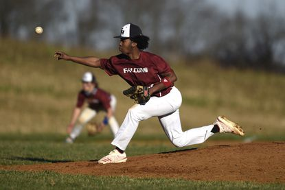 Gerstell Academy pitcher Jeremiah Torrence delivers in the seventh inning of the Falcons' game against St. Pauls in Finksburg Monday, March 29, 2021.