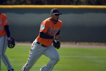 Baltimore Orioles outfielder Jimmy Paredes participates in fielding drills at the first day of workouts for position players as well as pitchers and catchers on the field during spring training at the Ed Smith Stadium complex.