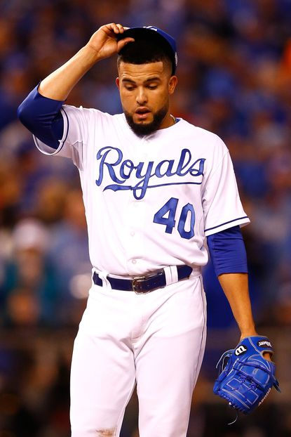 Royals reliever Kelvin Herrera reacts during the eighth inning against the Mets during Game 1. He threw 35 pitches in 1 1/3 innings.