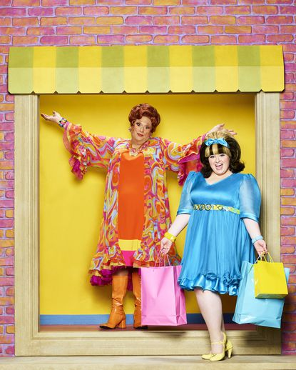 Harvey Fierstein plays Edna Turnblad and Maddie Baillio plays Tracy Turnblad in Hairspray Live.