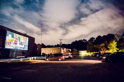 The parking lot was the place to be on opening night of the Gordon Outdoors mega screen which is located at the Rosenbloom Owings Mills Jewish Community Center.